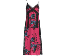 Lace-trimmed printed crepe de chine midi dress