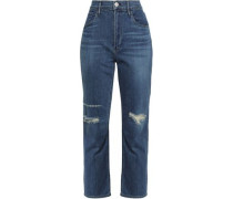 Colette Distressed High-rise Slim-leg Jeans Mid Denim