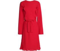 Ruffle-trimmed crepe dress