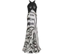 Croc-effect Leather-paneled Zebra-print Silk-chiffon Gown White