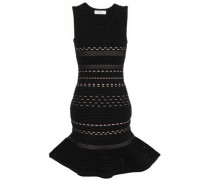 Fluted Pointelle-knit Mini Dress Black