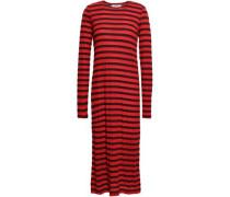 Striped Modal-blend Jersey Midi Dress Red Size 0