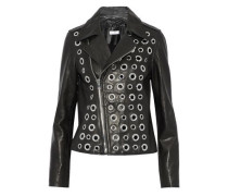 Eyelet-embellished leather biker jacket