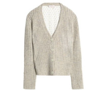 Paneled marled ribbed-knit and embroidered tulle cardigan