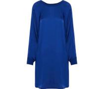 Ribbed knit-trimmed satin mini dress
