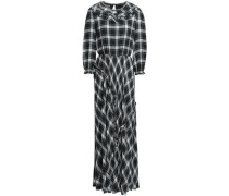 Crystal-embellished Checked Crepe Maxi Dress Dark Green