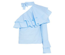 One-shoulder ruffled gingham cotton-poplin top