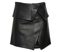 Wrap-effect Leather Mini Skirt Black