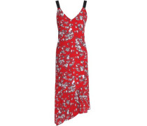 Zoe Printed Silk Crepe De Chine Dress Red
