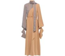 Tie-neck Two-tone Crepe Midi Dress Sand