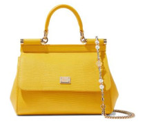 Lizard-effect Leather Shoulder Bag Yellow Size --