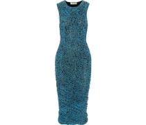 Ruched floral-print gauze dress
