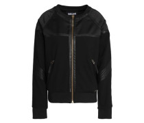 Faux leather-trimmed satin and jersey jacket