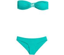 Lace-up Bandeau Bikini Teal