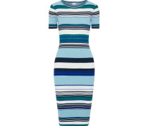 Woman Hibiscus Striped Ribbed Cotton-blend Dress Light Blue