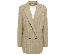 Woman Double-breasted Prince Of Wales Checked Woven Blazer Pastel Yellow