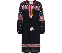 Tasseled Embroidered Cotton-blend Mini Dress Black