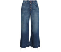 Cropped faded high-rise wide-leg jeans