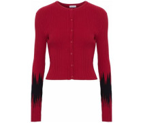Two-tone Ribbed-knit Cardigan Red