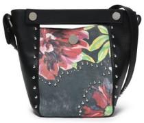 Studded paneled floral-print  leather bucket bag