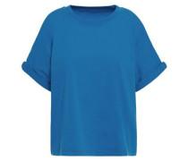 Woman Cold-shoulder Cotton-jersey T-shirt Cobalt Blue