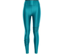 Metallic Textured Stretch Leggings Teal