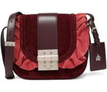 Leather-trimmed ruffled suede shoulder bag