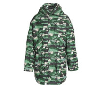 Printed twill hooded parka