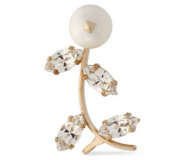 Gold-tone, faux mother-of-pearl and crystal ear cuff
