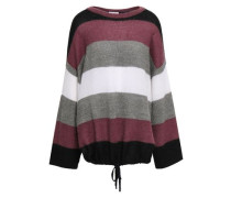 Striped Ribbed-knit Sweater Plum