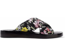 Nagano ruched floral-print twill slides