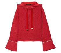 Woman Frayed Velvet And Chain-trimmed Tweed Hooded Sweatshirt Red