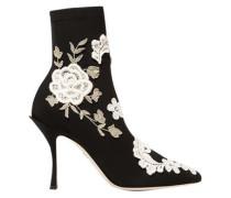 Woman Appliquéd Stretch-knit Sock Boots Black