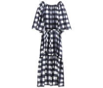 Lilian Velvet-trimmed Checked Cotton And Silk-blend Midi Dress Navy  /L