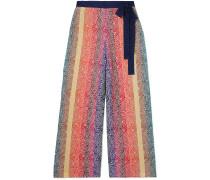 Woman Rego Glittered Jacquard-knit Wide-leg Pants Blue