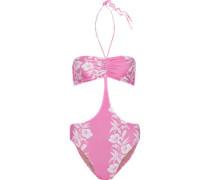 Cutout Ruched Floral-print Halterneck Swimsuit Pink