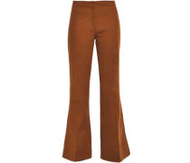 Cotton-blend Twill Flared Pants Light Brown