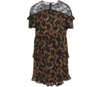 Woman Alderic Chantilly Lace-paneled Printed Crepe De Chine Mini Dress Black