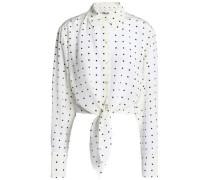 Tie-front cropped polka-dot silk shirt