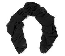 Lace-trimmed silk-blend chiffon scarf