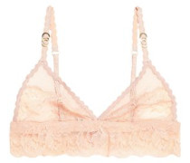 Lace and stretch-mesh triangle bra