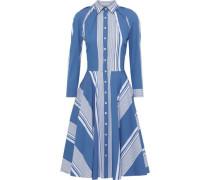 Striped Cotton-blend Poplin Shirt Dress Cobalt Blue