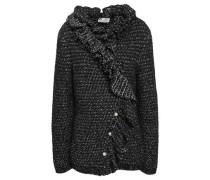 Ruffled Faux Pearl-embellished Metallic Tweed Jacket Black