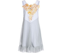 Woman Embroidered Printed Mousseline Dress Light Gray