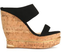 Suede plaform wedge mules