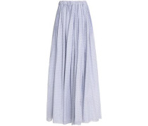 Gathered printed cotton maxi skirt