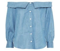 Britta Off-the-shoulder Gathered Chambray Top Light Blue