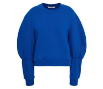 Gathered Cotton-fleece Sweatshirt Bright Blue
