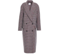 Woman Double-breasted Checked Wool And Cotton-blend Felt Coat Multicolor