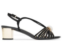 Embellished Suede And Metallic Leather Sandals Black